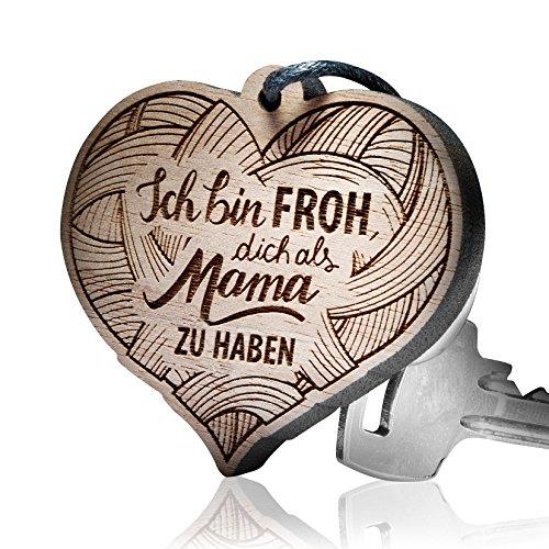 """schenkYOU® Premium Schlüsselanhänger aus Nussbaumholz vorgraviert Herz - personalisierte Geschenkidee - Gravur """"Ich Bin froh, Dich als Mama zu haben"""""""