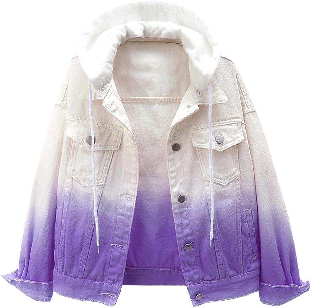 Kedera Women's Detachable Hoodie Denim Jackets Tie Dye Boyfriend Jean Coats
