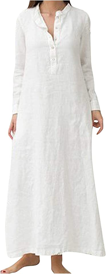 Summer Maxi Dresses For Women Cotton Long Sleeve Plain Casaul Oversized Dress