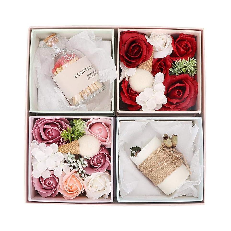 パッチ道路を作るプロセス好き石鹸のギフトボックス、繊細な手作りのバラの花の石鹸の香りのキャンドルボックスバレンタインの日、誕生日のロマンチックなギフト
