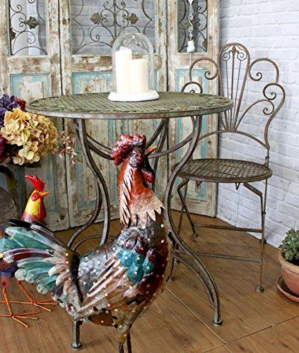 Keyhome Set Tisch mit 2 Stühlen für Garten, Eisen, 70 x 75 cm