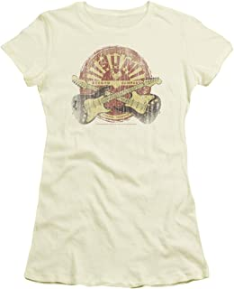 Sun Records Crossed Guitars - Crop Sleeve Fitted Junior Sheer T-Shirt
