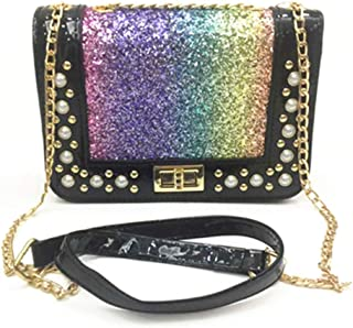 778d8c64d7c2 Ming Hong Tang Black Leather Shoulder Cross body Bags for Women with Pearl