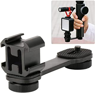 Triple Cold Shoe Mount Gimbal Extension Bracket, Microphone Led Video Light Stand and Light Mount Plate Adapter for Zhiyun Smooth 4/Q, DJI OSMO Mobile 2 and Feiyu Vimble 2 Gimbal Stabilizer