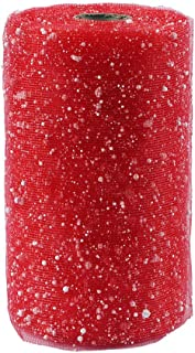 """YYCRAFT 6"""" Snow Ribbon Craft Tulle Ribbon Spool 12 Yards,Red"""