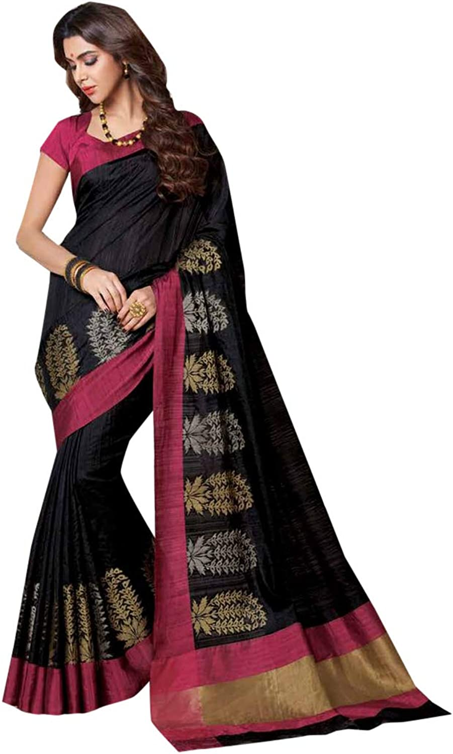 Indian Ethnic Black Silk Saree And Blouse Designer Collection Women Stylish Party Formal Wear 7285