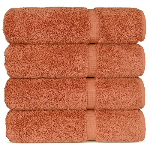 Luxury Hotel & Spa 100% Cotton Premium Turkish Bath Towels, 27' x 54'' (Set of 4, Coral)