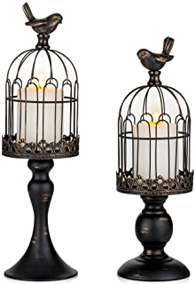 Sziqiqi Vintage Bird Cage Decorative Candle Lantern Set of 2 Decorative Pedestal Candle Holders for Pillar Candle for Tabl...