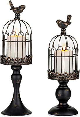 Rustic Distressed Bird Cage With Song Bird on Pedestal Round Design Garden Decor