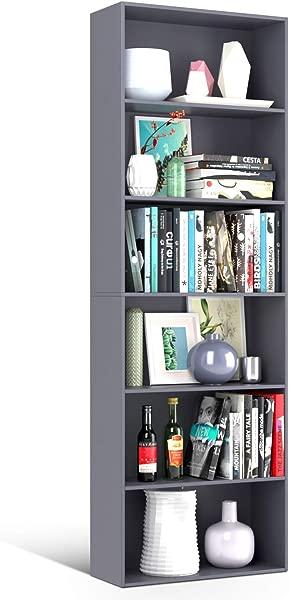 Homfa Bookshelf 70 In Height Wood Bookcase 6 Shelf Free Standing Display Storage Shelves Standard Organization Collection Decor Furniture For Living Room Home Office Light Slate Gray