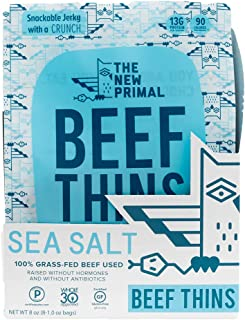 THE NEW PRIMAL Sea Salt Beef Thins, Grass-Fed Beef Jerky, Thinly Sliced, Crunchy, Whole30 Approved, Gluten-Free, High Protein, 1 oz pack, 8 Pack, 90 Calories (8 Bags)