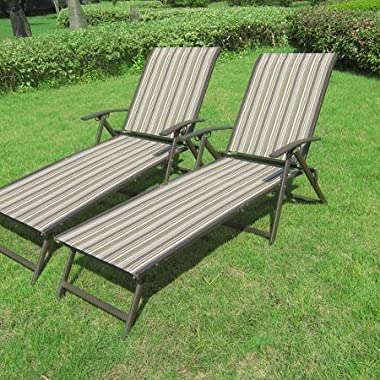 Mainstays Fair Park Sling Folding Lounge Chairs, Set of 2, Multiple Colors (Multi-Stripe)