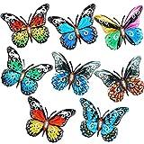 8 Piezas Mariposas 3D Ahuecada de Hierro Forjado Decoración Colgante de Mariposa de Metal, Arte Colgante de Pared de Mariposa para Decoración Balcón Patio Sala de Estar Jardín