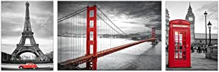 Black and White Red Image Wall Decor Prints Living Room San Francisco Golden Gate Bridge Eiffel Tower London Booth Picture Framed Wall Art (Large)