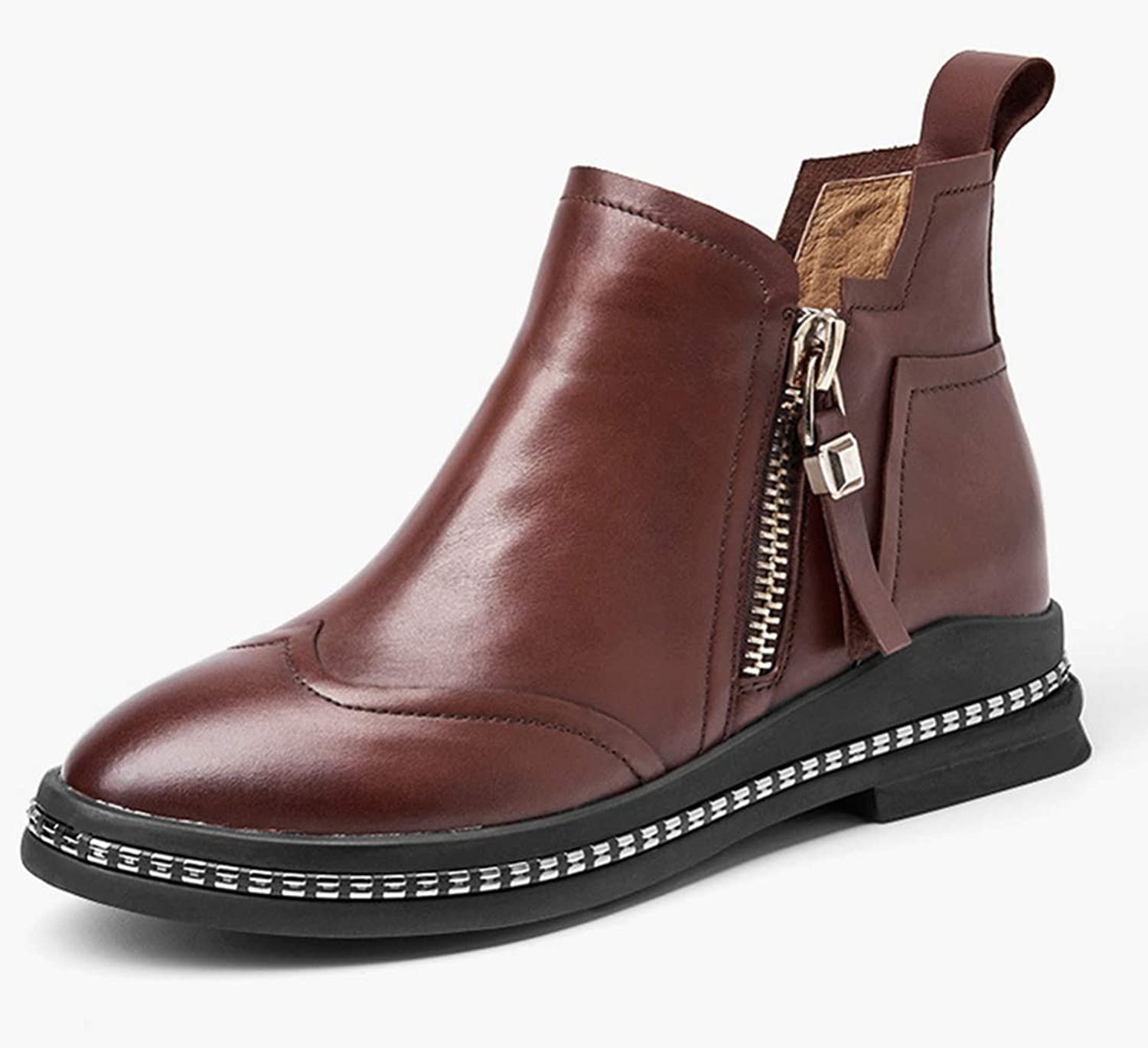 Shiney New Women's Leather Autumn New Chelsea Booties Round Head Zip Martin Boots British Shorts Ankle Boots