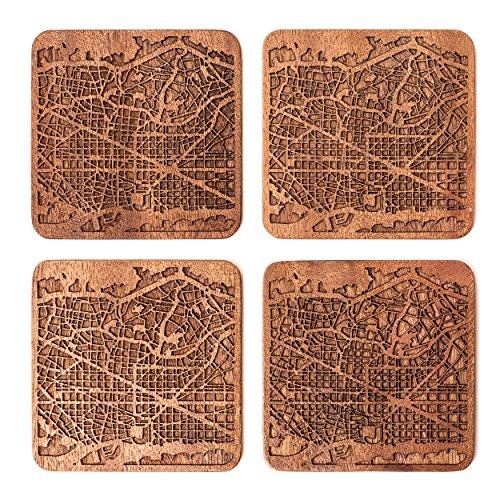 Barcelona Untersetzer mit Landkarte aus Sapeli-Holz, 4 Stück, mit Stadtkarte, mehrere Stadt optional, handgefertigt