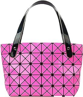 Pu handbag, British style shoulder bag, versatile female bag, large capacity travel bag, bright plaid bag, can accommodate mobile phones, pink and orange (Color : Pink, Size : One size)