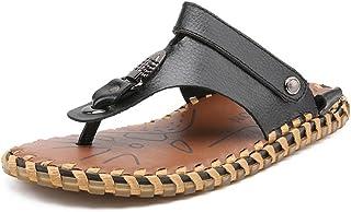 Z.L.FFLZ Men Sandals Men's Flip Flops Beach Slippers Genuine Leather Beach Thong Non-slip Sandals Switch Backless sandals ...