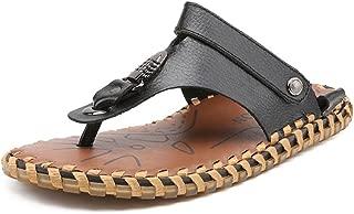 Men's Flip Flops Beach Slippers Genuine Leather Beach Thong Non-slip Sandals Switch Backless for Men DIE
