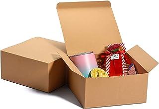 MESHA Cardboard Brown Gift Boxes 12 Pcs 8x8x4 Bridesmaid Proposal, Birthday Party, Wedding, Kraft Paper Present Packaging ...
