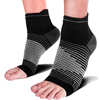 Compression Ankle Sleeve, Heel Compression Sock Sleeves and Compression Socks Plantar Fasciitis for Ankle/Heel Support, Increase Blood Circulation, Relieve Arch Pain, Reduce Foot Swelling, Black S
