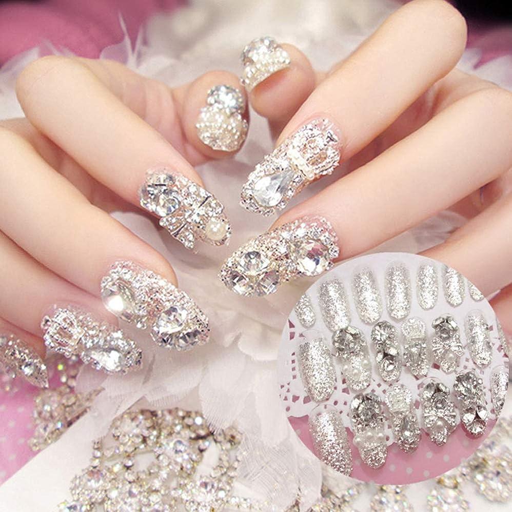 署名看板代数XUTXZKA 24本の輝くラインストーンの結婚式の偽の爪透明グリッタースクエアフルショートフェイクネイル花嫁