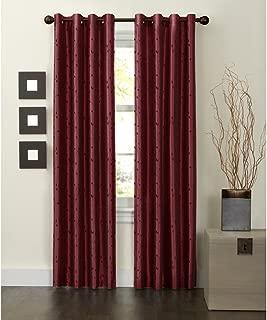 MAYTEX Jardin Thermal Blackout Room Darkening Faux Silk Embroidered Single Panel Grommet Window Curtain, 54 inch x 84 inch, Burgundy Red