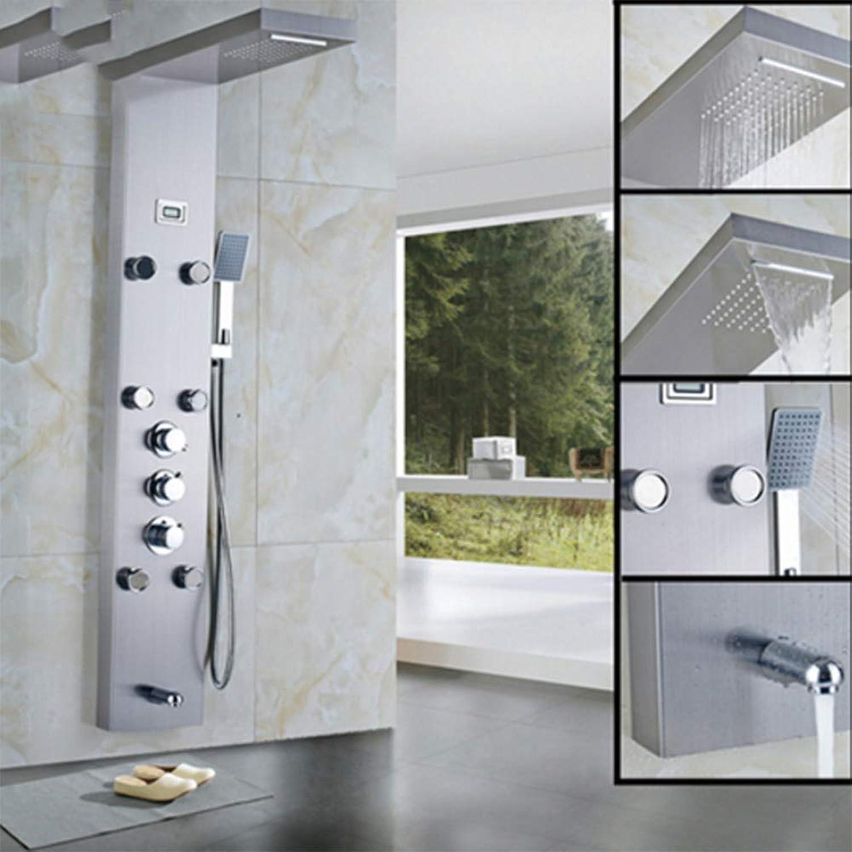 SISHUINIANHUA Wasserfall 6 stück Massagedüsen Regen Duschsule Thermostat Dusche Wasserhahn Turm Mit Handbrause Auslauf Schwarz Duschpaneel,BrushedNickel
