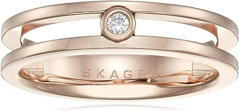 Skagen Women's Elin Rose-Tone Cubic Zirconia Ring, Rose Gold/Clear, 5.5