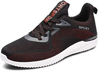 Men's Shoes 2019 Autumn New Mesh Breathable Lightweight Running Shoes Large Size Flying Woven Casual Shoes Men (Color : Black red, Size : 43)