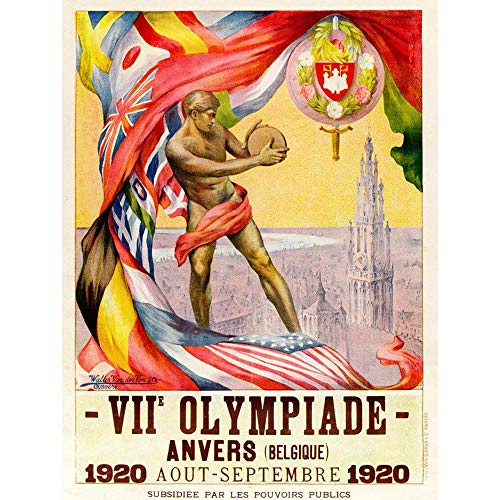 Wee Blue Coo Sport Advert 1920 Olympic Games Antwerp Athlete Art Print Poster Wall Decor 12X16 Inch