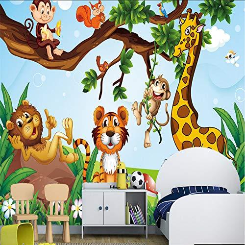 Cczxfcc Cartoon dierentuin fotobehang 3D aap natuurlijke bomen kinderen muurschilderingen voor kinderkamer behang wooncultuur woonkamer 200 x 140 cm.