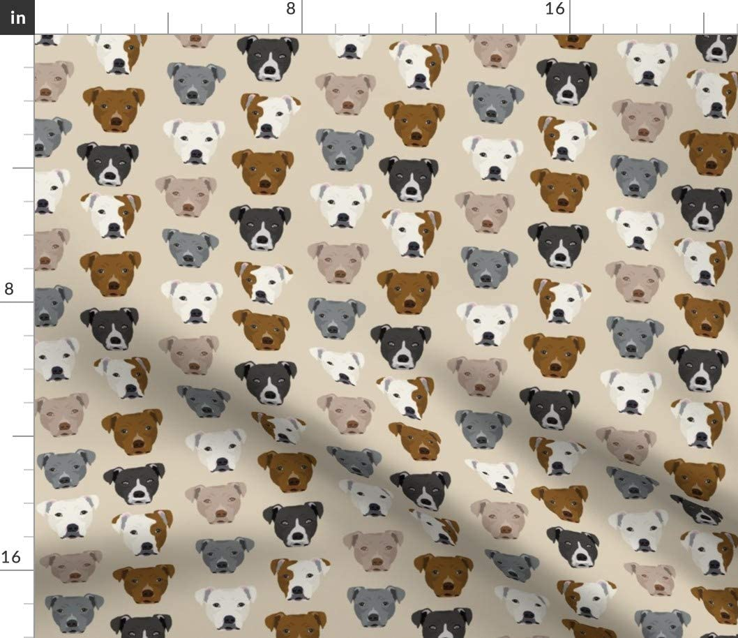 Spoonflower Fabric - Pitbull All items in trend rank the store Terrier Sta Beige Pets Dog Tan