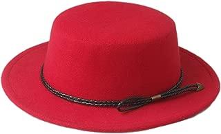 Autumn Cloche Elegant Lady Fascinator Felt Wide Brim Fedora Gambler Hat Women Men Wool Pork Pie Boater Flat Top Hat (Color : Red)