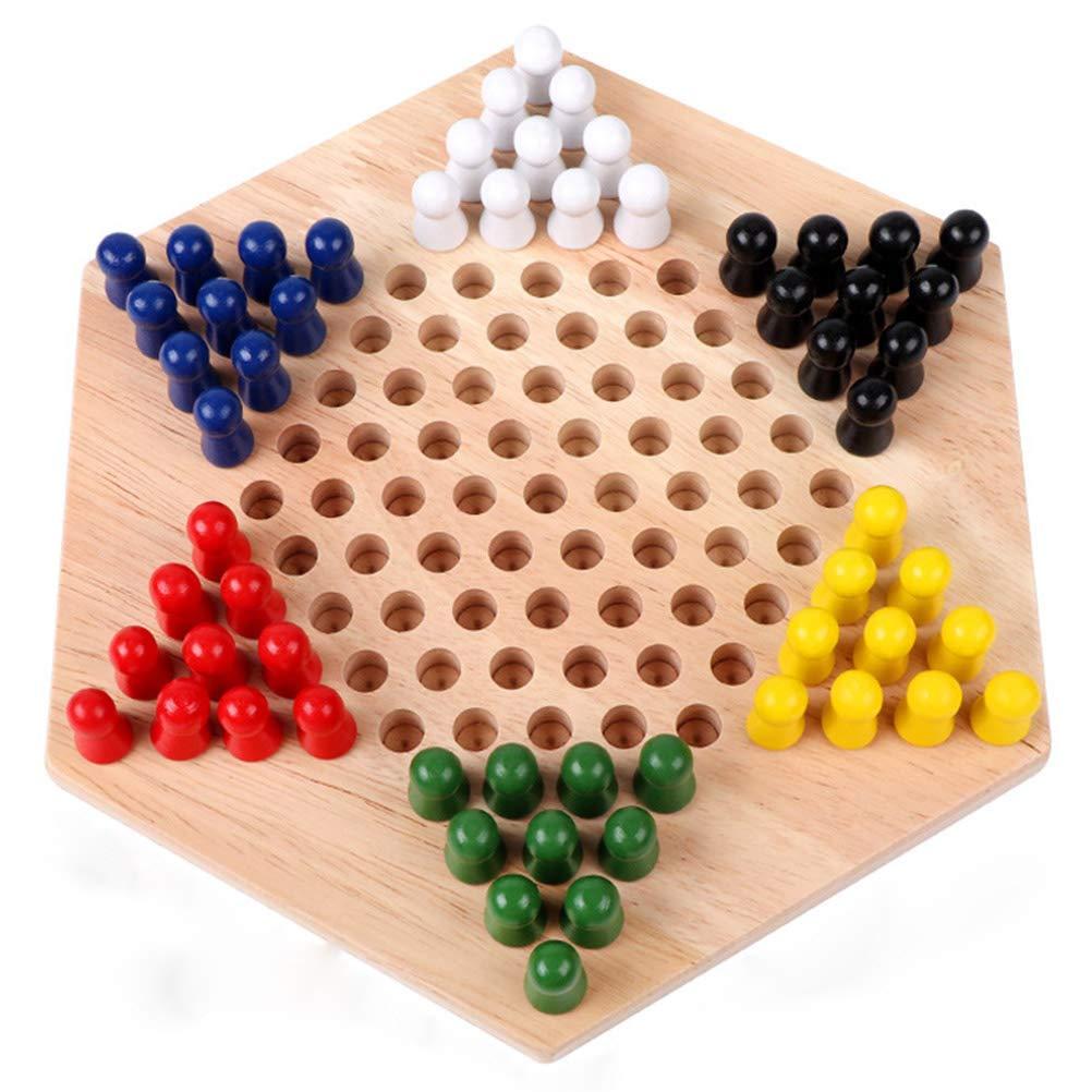 Bozaap Juego de Damas Chino Tradicional de Madera Juego de Tablero de ajedrez de Madera Hexagonal Juego de Juego Familiar Juego de Bloques para Padres e Hijos Regalo: Amazon.es: Hogar