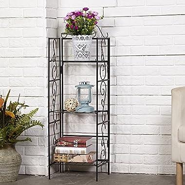 Versatile 3 Tier Standing Wire Shelf Shelving Unit Bakers Rack Metal Rustproof Organizer Corner Planter Stand Storage Shelves Indoor Outdoor Plant Rack Garage Bathroom Kitchen Bookcase Black