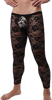 IBAKOM Men's Sissy Lace Leggings Pants Floral Sheer Mesh Low Rise Semi See Through Transparent Long Johns Pyjamas Lingerie...
