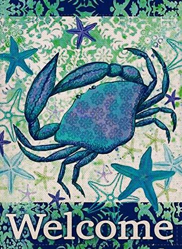 Furiaz Decorative Tropical Crab Small Garden Flag Double Sided, Home Burlap Ocean Welcome Quote Starfish Nautical Sea House Yard Decoration, Seasonal Coastal Outdoor Décor Flag 12.5 x 18 Spring Summer