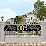 Large Happy 100th Birthday Banner, Cheers & Beers to 100 Years, Birthday Hanging Banner, Birthday Party Decoration Supplies, Celebration Flag(9.8 x 1.6 ft)