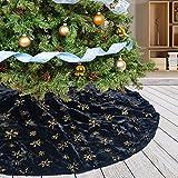 Deggodech Nero Peluche Gonne per Alberi di Natale con Oro Paillettes Fiocchi di Neve 78cm Tappeto per Albero di Natale Finta Pelliccia per Albero Natale Festa Decorazioni (Nero, 31pollici)