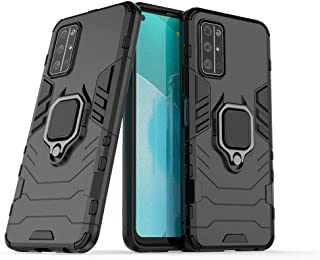 Compatible with Honor 30S Case, Metal Ring Grip Kickstand Bumper (Works with Magnetic Car Mount) Dual Layer Rugged Cover f...