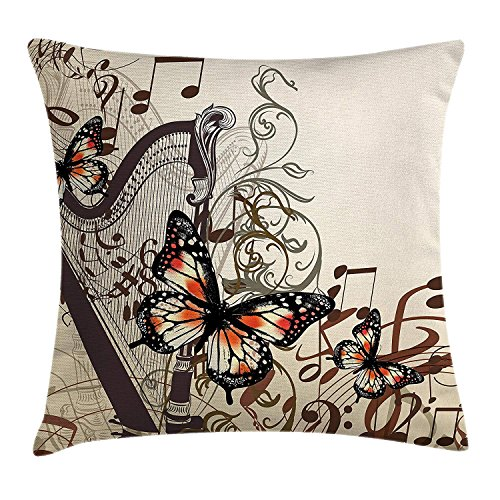 fjfjfdjk Harp Ornament and Butterflies Classic Musical Instrument Concert ThemeButterflies Decoration Throw Pillow Cushion Cover Decorative Square Accent Pillow Case 18 X 18 Inches Brown