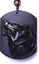 David Kabel Black Obsidian Pendant Necklace Wolf Lucky Love Crystal Jewelry With Free Rope