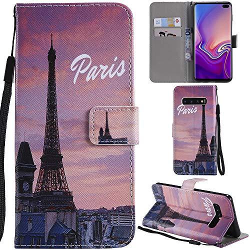 Ooboom Funda para Samsung Galaxy S10+ Plus Flip Wallet Case Cover Carcasa Piel PU Billetera Soporte con Ranuras Tarjetas Correa Magnético - Paris
