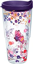 Tervis 1206971 Watercolor Branches and Butterflies Tumbler with Wrap and Royal Purple Lid 24oz, Clear
