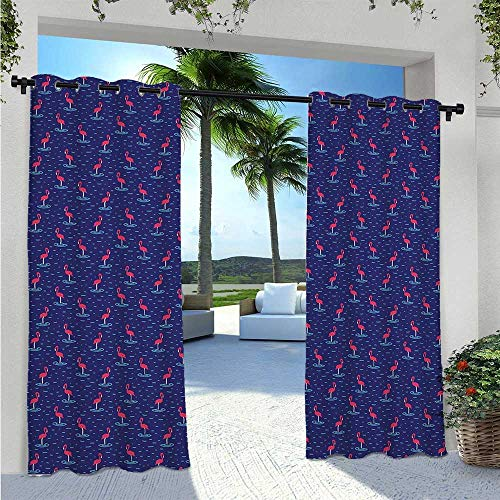 Home Curtains Hand Drawn Style Abstract Birds Wavy Lake Water Kids Design Blackout Outdoor Curtain Drapes for French Door Porch Pergola Cabana Sun Room Deck Violet Dark Coral W55 x L63 Inch