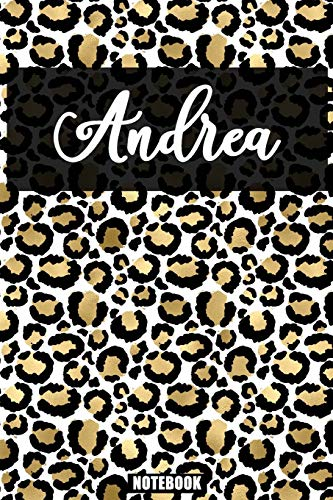 Andrea :Personalized Notebook Leopard Print Black and Gold Animal Print Women| Cheetah| Cat (Animal Skin Pattern) with Cheetah Fur Graphic: Lined ... 110 Pages, 6x9, Soft Cover, Matte Finish