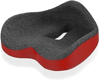 低反発 座布団 オフィス クッション Homuno ハート型クッション 椅子 車用 自宅用 (grey&red)