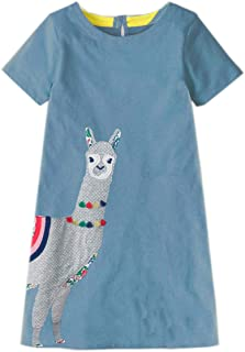 Girls Cotton Short Sleeve Casual Cartoons Applique Unicorn Dress