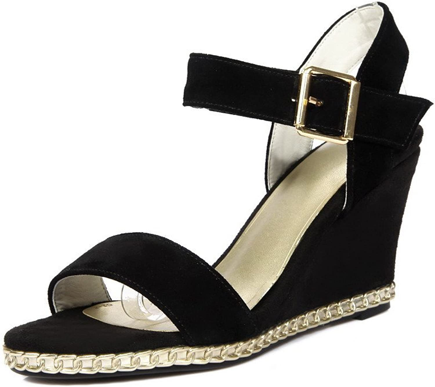 AmoonyFashion Women's Frosted Open-Toe High-Heels Buckle Solid Sandals